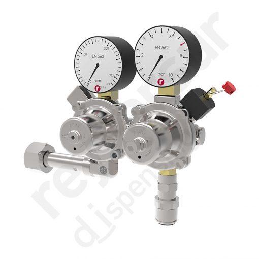 Regulador de presión nitrógeno doble sin protección. Reyvarsur, soluciones en dispensación bebidas embarriladas, cerveza, vino, sidra o agua.