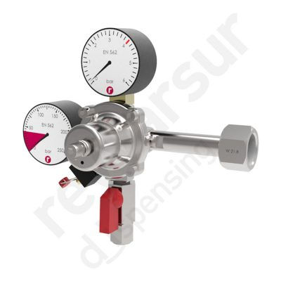 Regulador de presión CO2 simple enchufe rápido sin protección. Reyvarsur, soluciones en dispensación bebidas embarriladas, cerveza, vino, sidra o agua.