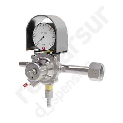 Regulador de presión CO2 simple espiga sujección botella. Reyvarsur, soluciones en dispensación bebidas embarriladas, cerveza, vino, sidra o agua.