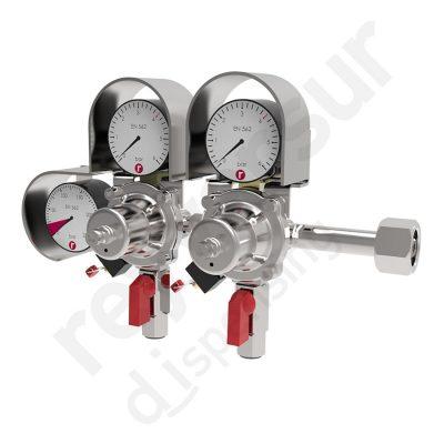 Regulador de presión CO2 doble enchufe rápido con protección. Reyvarsur, soluciones en dispensación bebidas embarriladas, cerveza, vino, sidra o agua.