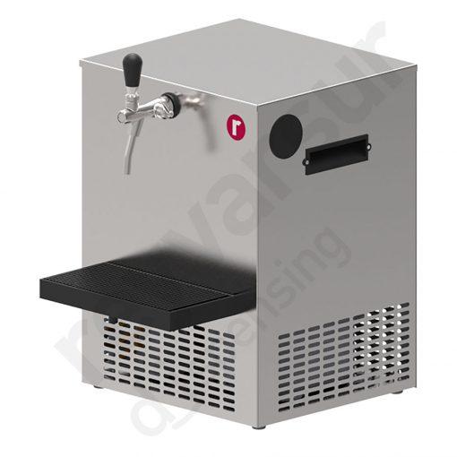 Tanque enfriador de liquidos sobre mostrador V30 con grifo y bandeja. Reyvarsur, soluciones en dispensación de bebidas, cerveza, vino, sidra, agua o soda.