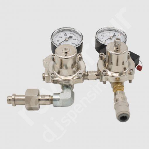 Regulador de presión nitrogeno doble sin protección. Reyvarsur, soluciones en dispensación bebidas embarriladas, cerveza, vino, sidra o agua.