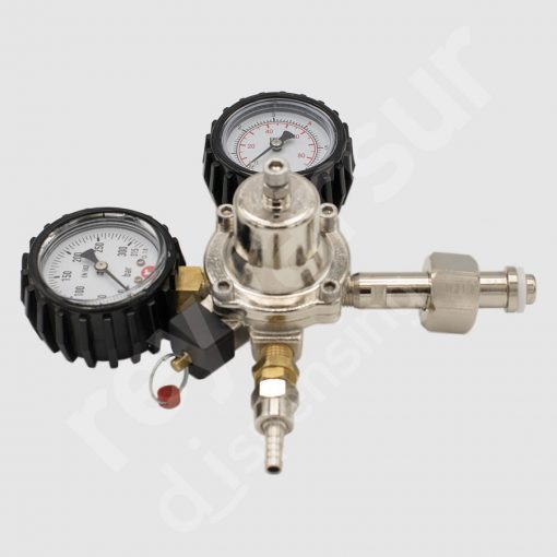Regulador de presión CO2 simple espiga protección goma. Reyvarsur, soluciones en dispensación bebidas embarriladas, cerveza, vino, sidra o agua.