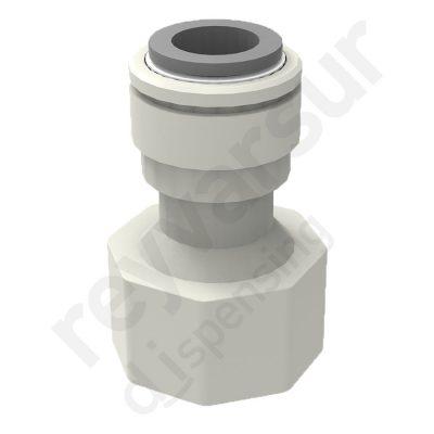 Adaptador hembra con tubo de diámetro 3⁄8″ y rosca G ½″ en acetal. Reyvarsur, soluciones en dispensación de bebidas, cerveza, vino, sidra, agua o soda.