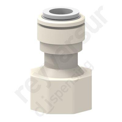 Adaptador hembra con tubo de diámetro 3⁄8″ y rosca G 5⁄8″ en acetal. Reyvarsur, soluciones en dispensación de bebidas, cerveza, vino, sidra, agua o soda.