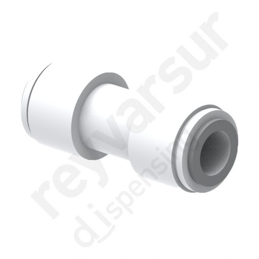 Unión doble John Guest con tubo de diámetro 3⁄8″ fabricado en acetal. Reyvarsur, soluciones en dispensación de bebidas, cerveza, vino, sidra, agua o soda.