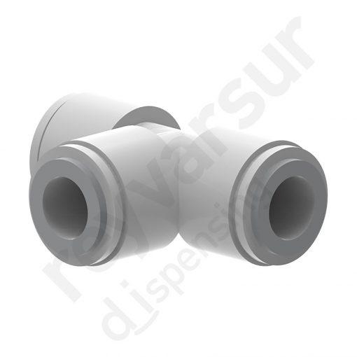 Conexión en T John Guest con tubo de diámetro 3⁄8″ fabricado en acetal. Reyvarsur, soluciones en dispensación de bebidas, cerveza, vino, sidra, agua o soda.