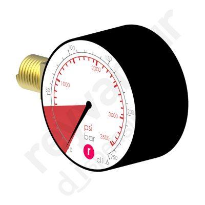 Manómetro de 0 a 250 bares con cogida a la izquierda y rosca ¼″ NPT. Reyvarsur, soluciones en dispensación de bebidas, cerveza, vino, sidra, agua o soda.