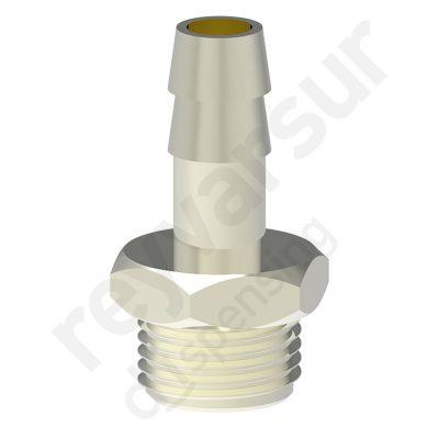 Espiga de 9 milímetros con rosca G¼″ fabricada en latón niquelado. Reyvarsur, soluciones en dispensación de bebidas, cerveza, vino, sidra, agua o soda.