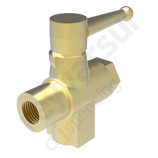 Válvula reguladora de tres vías con rosca G¼″ fabricada en latón. Reyvarsur, soluciones en dispensación de bebidas, cerveza, vino, sidra, agua o soda.