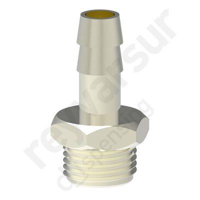 Espiga de 8 milímetros con rosca G¼″ fabricada en latón niquelado. Reyvarsur, soluciones en dispensación de bebidas, cerveza, vino, sidra, agua o soda.