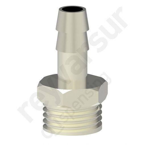 Espiga de 8 milímetros con rosca G3⁄8″ fabricada en latón niquelado. Reyvarsur, soluciones en dispensación de bebidas, cerveza, vino, sidra, agua o soda.