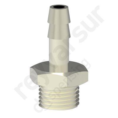 Espiga de 7 milímetros con rosca G¼″ fabricada en latón niquelado. Reyvarsur, soluciones en dispensación de bebidas, cerveza, vino, sidra, agua o soda.