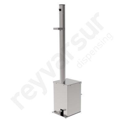 Dispensador de gel hidroalcohólico de acero inoxidable para 5 litros. Previene contagio por COVID-19. No requiere contacto manual, se acciona mediante pedal.
